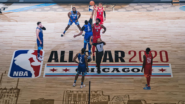 CHICAGO, ILLINOIS - FEBRUARY 16: Joel Embiid #24 of Team Giannis and Anthony Davis #2 of Team LeBron reaches for the ball during the 69th NBA All-Star Game on February 16, 2020 at the United Center in Chicago, Illinois. (Photo by Lampson Yip - Clicks Images/Getty Images)